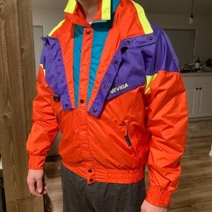 Nevica Snow Neon Ski Jacket Vintage Colorblock 42